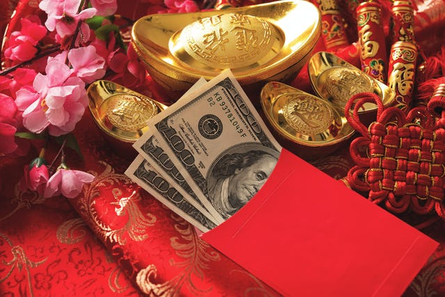 Chinese New Year red pockets with lucky money