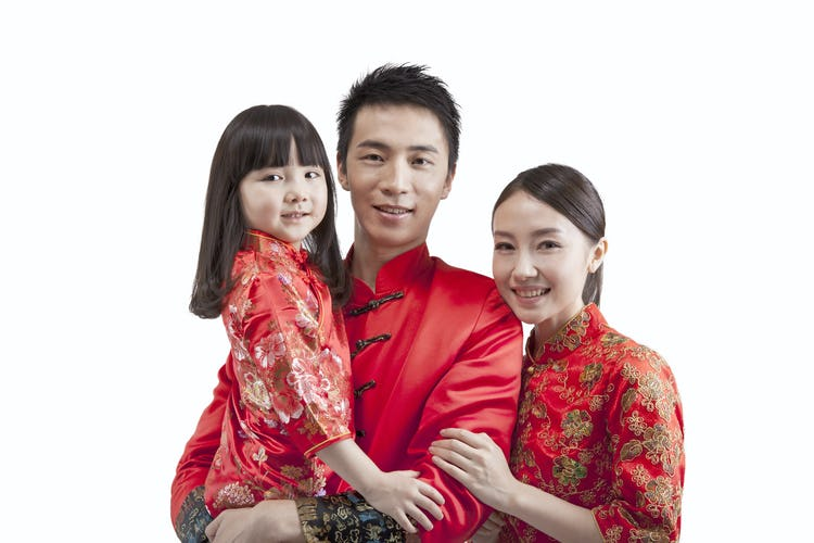 Chinese family in New Year Tang Suit