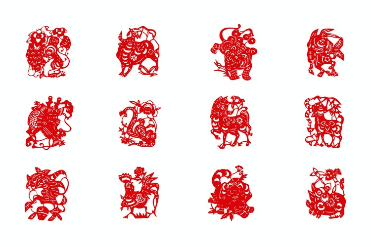chinese new year zodiac paper cuttings