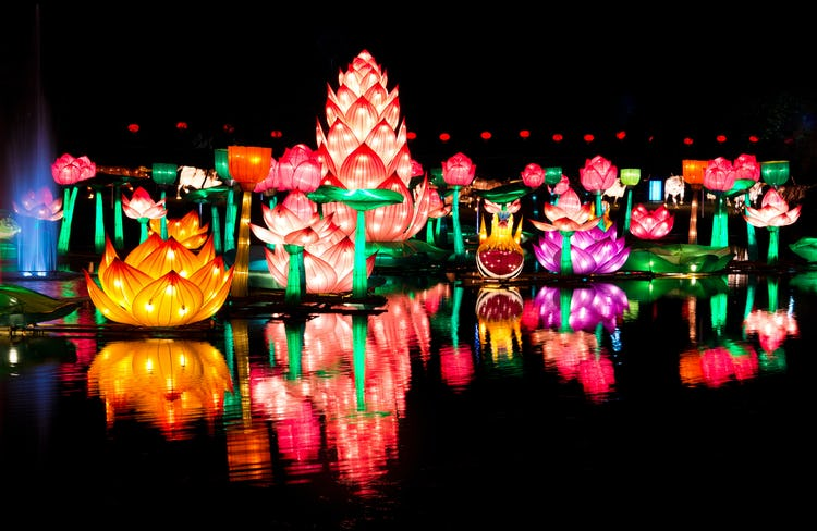 Chinese New Year colorful floating lanterns