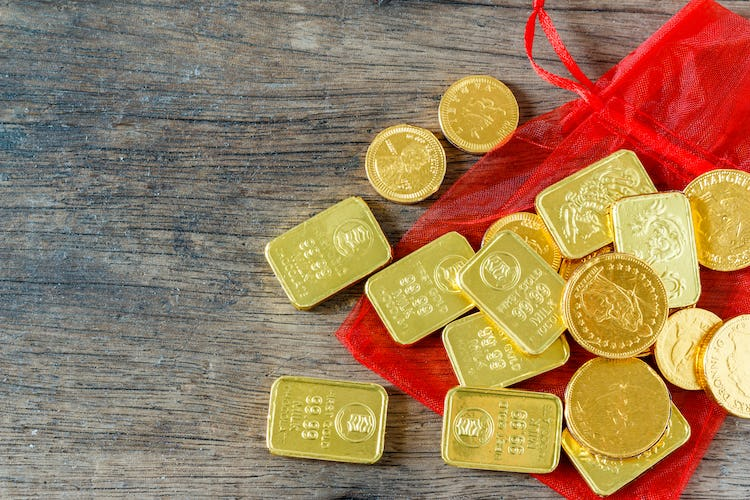 Chinese New Year chocolate coins wrapped in gold foil