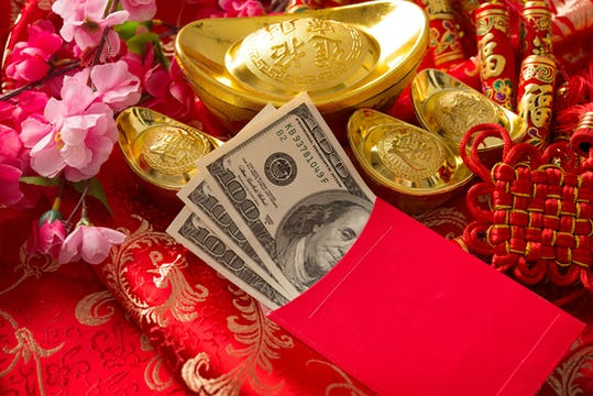 Chinese New Year red pocket with money
